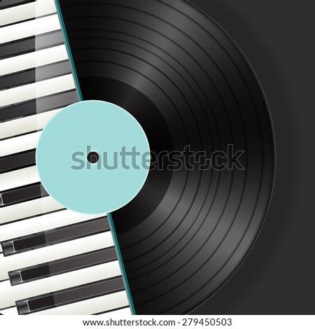 vinyl background with piano keys - stock photo