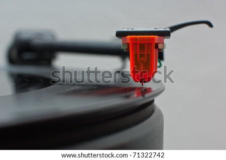 vinyl cartridge front view - stock photo