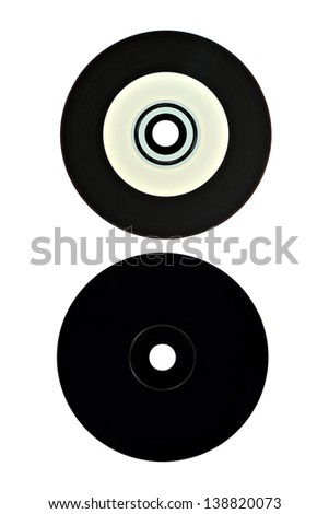 Vinyl Cd Front And Back Isolated On White - stock photo