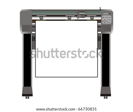 Vinyl cutter - sign making machine illustration - stock photo