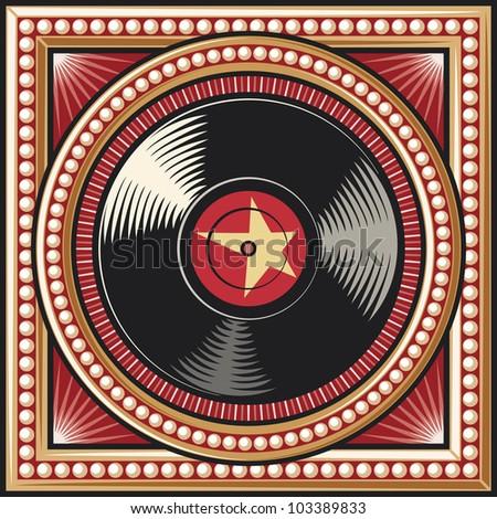 vinyl disc retro design (record) - stock photo