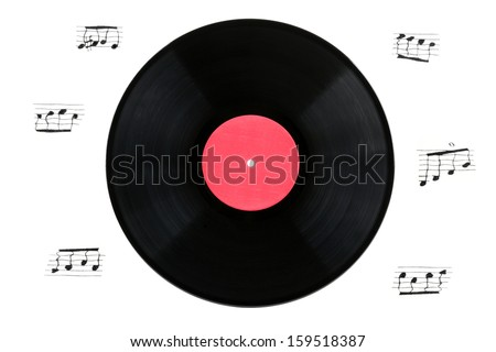 Vinyl gramophone record with musical signs on a white background - stock photo