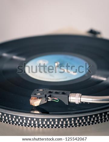 Vinyl player detail. - stock photo