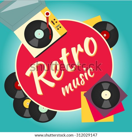 vinyl record and turntable, retro and old musi?. Music vector poster - stock photo