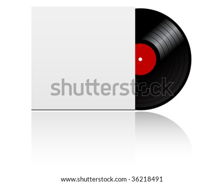 Vinyl record disk in box  on white background - abstract emblem. Vector version also available in gallery - stock photo