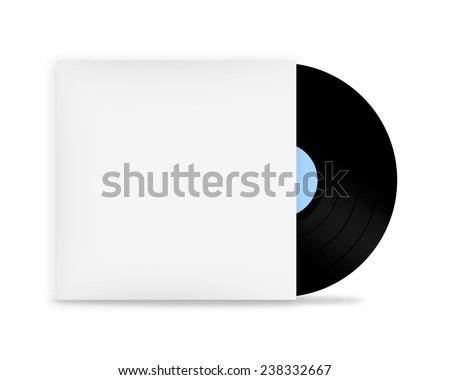 Vinyl record in white envelope - stock photo