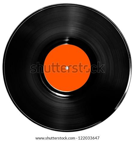 vinyl record isolated on white - stock photo