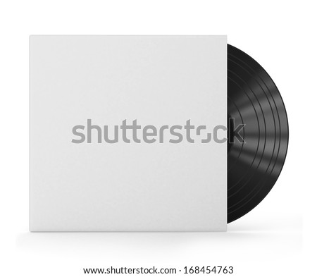 Vinyl record with blank cover isolated on white background  - stock photo