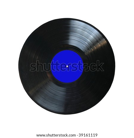 vinyl record with blank label isolated - stock photo