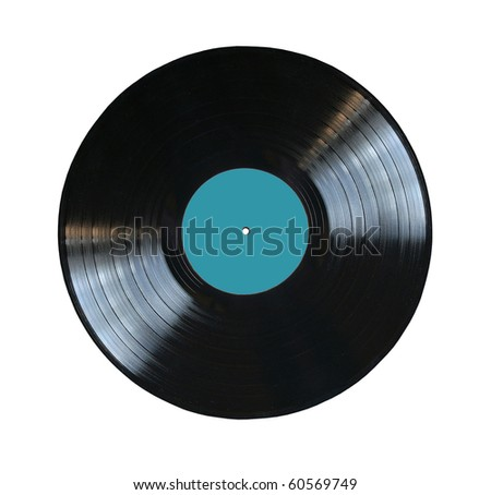 vinyl record with blue label isolated - stock photo