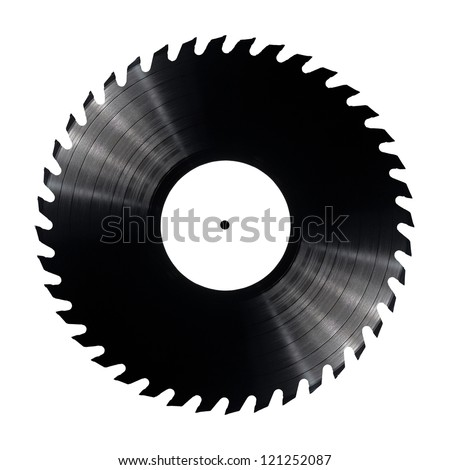 Vinyl record with circular saw blade edges. - stock photo