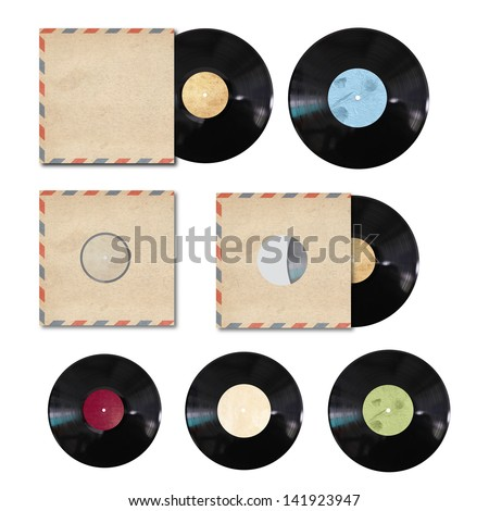 vinyl record with cover on white background - stock photo