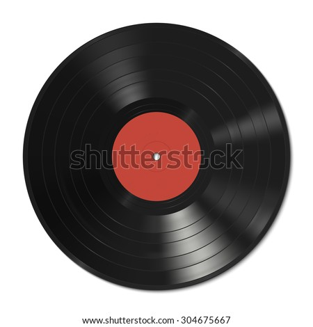 Vinyl record with red label. Raster version - stock photo