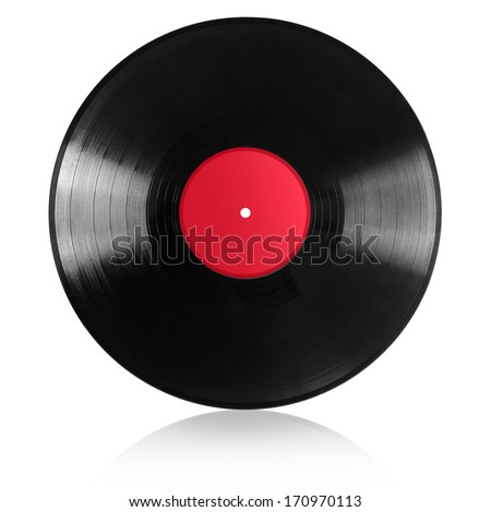 vinyl record with red paper label - stock photo