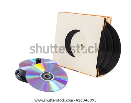 vinyl records and cd CD-R, DVD on a white background. isolated - stock photo