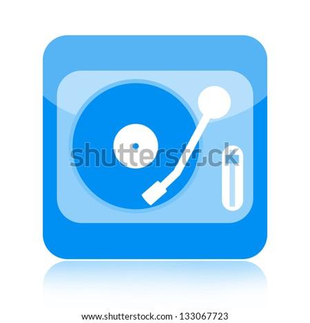 Vinyl turntable icon - stock photo
