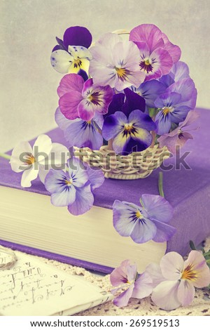 Viola flowers in a basket - stock photo