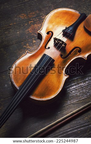 Viola on rustic wooden background - stock photo