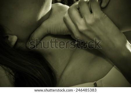 Violence with strangle to girl,social problem. - stock photo