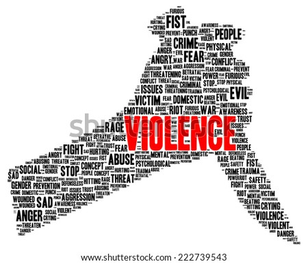 Violence word cloud shape concept - stock photo