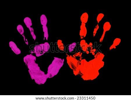 Violet and red fingerprint - stock photo