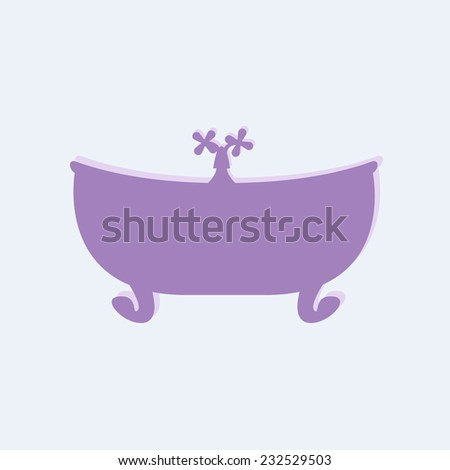Violet bathtub with tap on lilac background. May be used as baby shower invitation - stock photo