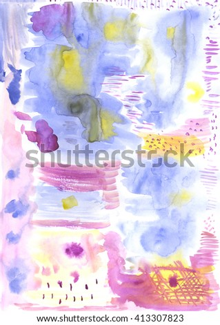 Violet, blue and yellow abstract hand painted watercolor background, watercolor stains - stock photo
