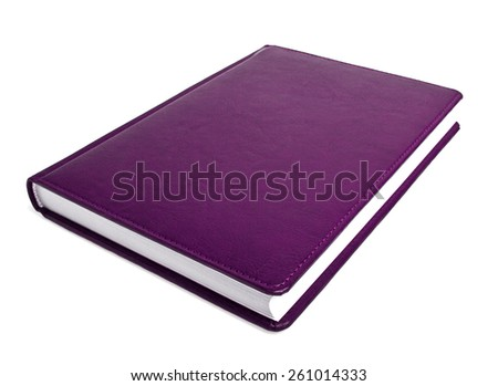 Violet book on a white background - stock photo