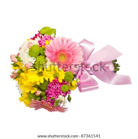 Violet bouquet made of varied beautiful flowers /isoleted on white background - stock photo