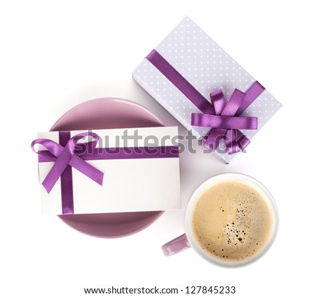Violet coffee cup, gift box and love letter with bow. View from above. Isolated on white background - stock photo