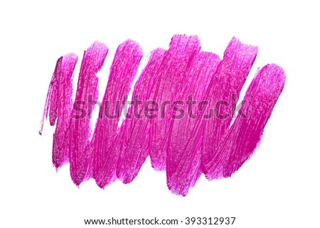 Violet color lipstick stroke on white background - stock photo