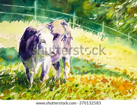 Violet cow on summer pasture Picture created with watercolors. - stock photo