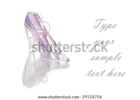 Violet decorated shoes and paper message - stock photo