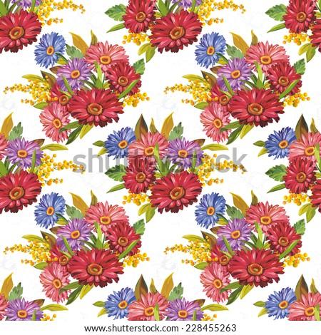 Violet gerbera flowers seamless pattern - stock photo