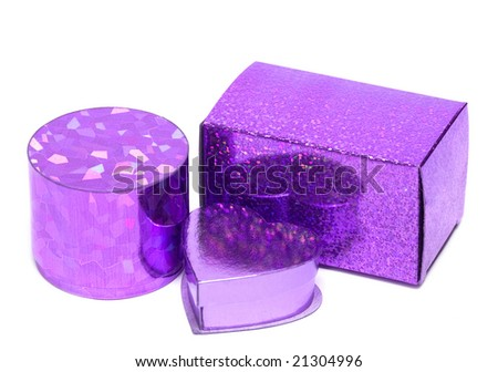 violet gift boxes isolated on white background - stock photo