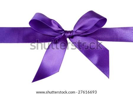 violet gift satin ribbon bow on white background - stock photo
