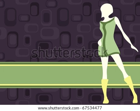 Violet horizontal retro banner with mod girl (jpg); vector version also available - stock photo