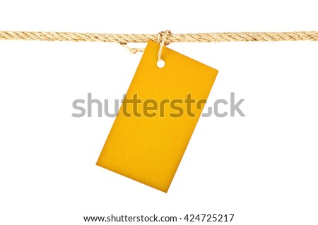 Violet label on a rope isolated on white background, closeup - stock photo
