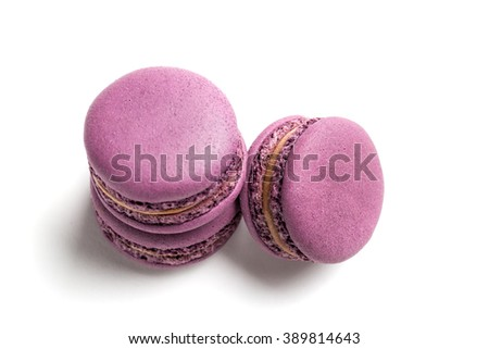 Violet macaroons on a white background - stock photo