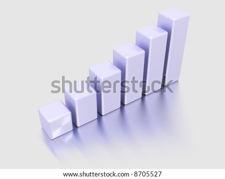 Violet plastic columns of diagram on a white background with reflection - stock photo