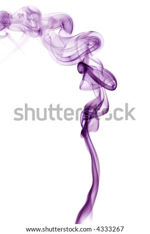 Violet smoke abstract girl isolated on white background - stock photo