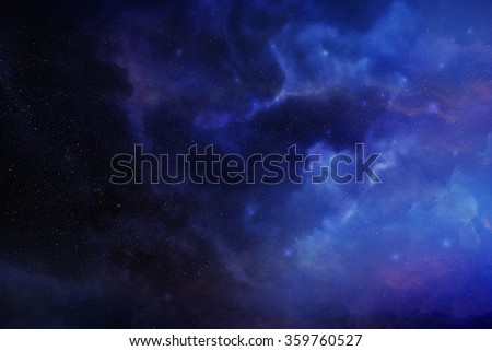 Violet space nebula digital illustration - stock photo