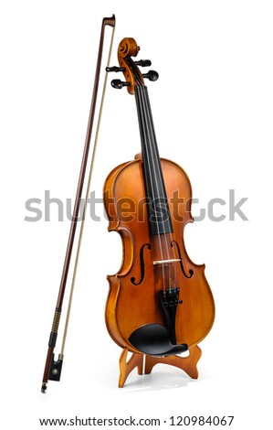 Violin and fiddle stick isolated on white - stock photo