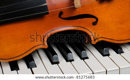 Violin and piano close up - stock photo