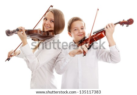 Violin duet, Isolated on white background - stock photo