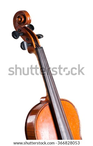 Violin isolated on white background. - stock photo