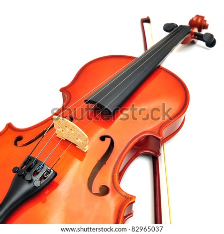 violin isolated on white background - stock photo