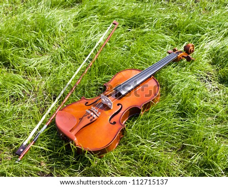 Violin on a green grass. - stock photo