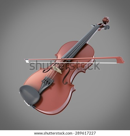 Violin on a grey background. 3d render image. - stock photo