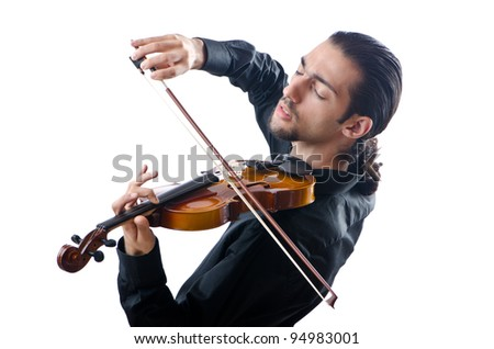 Violin player isolated on white - stock photo